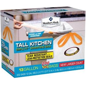Member s Mark 13-Gallon Tall Kitchen Drawstring Bags b6e946965fef0