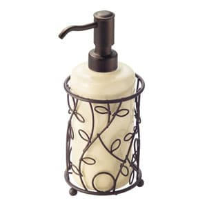 with the combination of stoneware and metal this dispenser pump looks just as attractive as how you expect it to be the steel pump is rustproof
